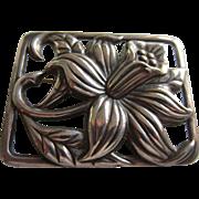 DANECRAFT Heavy Sterling Silver Scandinavian Style Daffodil Brooch, 1940's