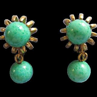 Classic MIRIAM HASKELL Peking Glass Drop Earrings, c. 1960