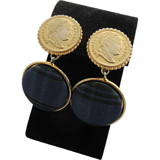 ELLEN DESIGNS Plaid Fabric and Gold Tone Coins Pendant Earrings, 1980's