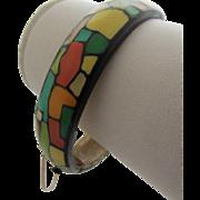 Gorgeous EISENBERG Enamel 1970's Hinged Bangle Bracelet with Tags