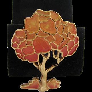 Lovely Eisenberg Enamel Tree Brooch with Original Tags