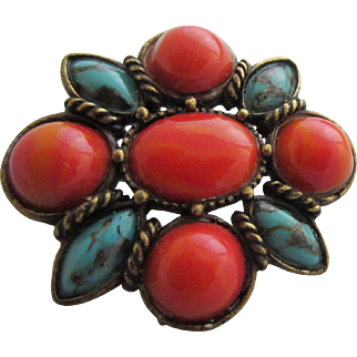 Beautiful Simulated Deep Coral and Turquoise Brooch