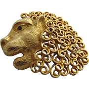 Impressive JEANNE Lion's Head Brooch, c. 1960's