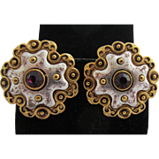 VENDOME Byzantine Style Earrings with Purple Rhinestone, c. 1960's