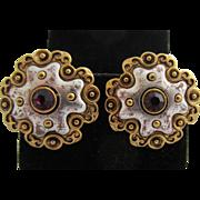 VENDOME Byzantine Style Earrings with Purple Rhinestone, c. 1960's