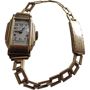 SOLAR Swiss Ladies Art Deco Slim Gold Filled Manual Wristwatch with Elegant Expandable Band, Recently Serviced and in Original Box