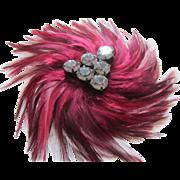 Large, Stylish Burgundy Feather and Smoky Grey Rhinestones Dress, Coat, Hat Ornament
