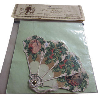 Christmas Green Holly Folding Paper Fan for Dolls - Unopened in Original Package