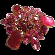 AUSTRIA Gorgeous Pink, Rose and Fuschia Rhinestone Large Brooch