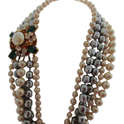 Multi Strand Simulated Pearl and Huge Jewelled Clasp Long Show-Stopper Necklace