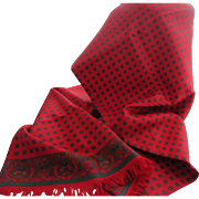 Hugh Parsons, Made in England, 100% Silk Vibrant Red and Green Patterned Men's Fringed Long Scarf