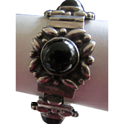 Obsidian Cabochons and Sterling Silver Fancy Signed Mexican Bracelet