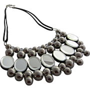 Dramatic French Collar Necklace with Metal, Lucite and Mirrored Discs, c. 1980's