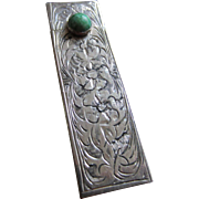 Vintage Italian 800 Silver Engraved Lipstick Holder with Green Stone Closure