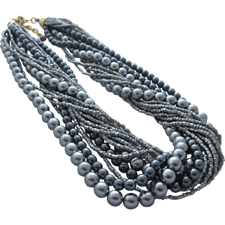 JOAN RIVERS Classics Collection 16 Multi Strand Silver Glass Pearls and Beads Necklace in Original Box, Made in The Czech Republic