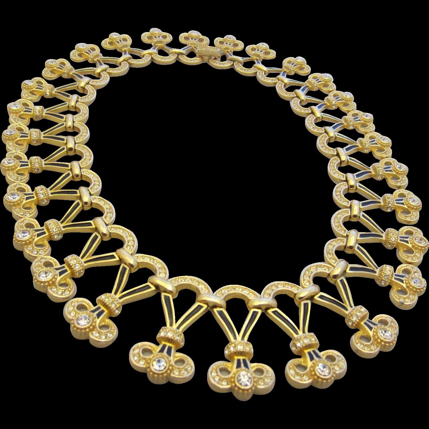 Bijoux Vintage Christian Dior : Christian dior fabulous runway enamel and diamant? collar