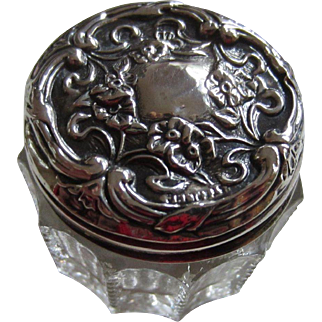 Small Beaded Glass Vanity Jar with Repoussé Floral Sterling Silver Lid - Can Be Monogrammed