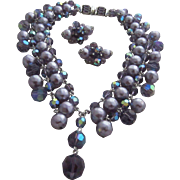 SHERMAN Shades of Purple Superlative Collar Necklace & Matching Earrings