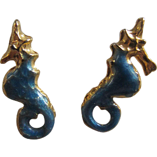 Tiny Blue Enamelled Seahorse Pierced Earrings - A Great Stocking Stuffer