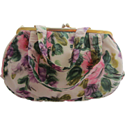 Floral Evening Bag with Pink Roses & Green Leaves, Made in Italy
