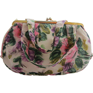 Pretty Floral Evening Bag with Pink Roses & Green Leaves, Made in Italy