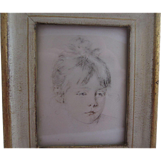 Lovely Florentine Framed Drawing on Silk of a Young Girl's Head