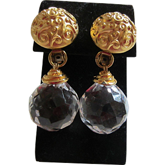 Large Clear Faceted Lucite Disco Ball Earrings