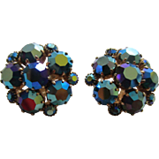 WEISS Turquoise Aurora Borealis AB Rhinestone Cluster Earrings
