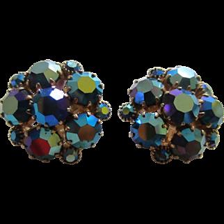 WEISS Turquoise Aurora Borealis AB Rhinestone Cluster Earrings