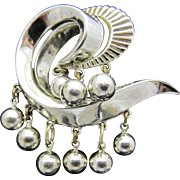 Interesting Crown Trifari Dangling Beads Rhodium Plated Brooch