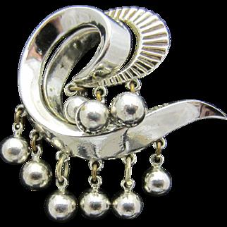 Interesting Crown Trifari Dangling Beads Rhodium Plated Brooch