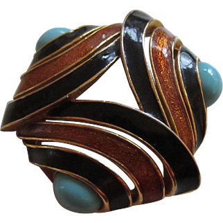 Dramatic D'ORLAN Black and Copper Enamel and Turquoise Glass Cabochons Brooch