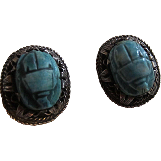 Signed Scarab Beetle Turquoise Faience and Silver Earrings