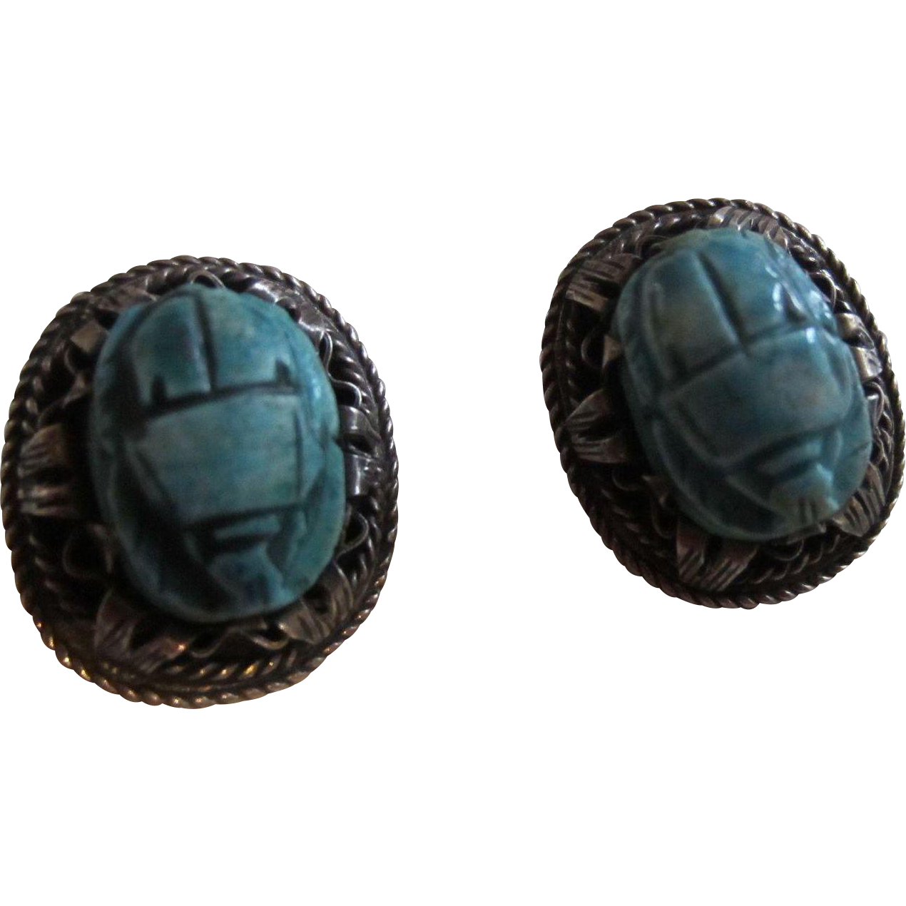 Signed scarab beetle turquoise faience and silver earrings for Faience turquoise