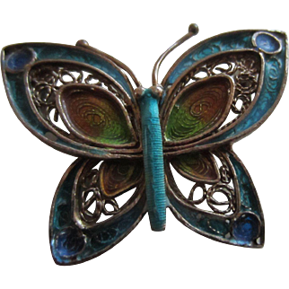 Pretty Sterling Filigree and Plique à jour Enamel Butterfly Pin