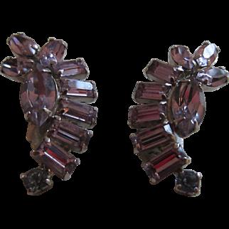 Scarce La Rel Lavender Rhinestone Earrings, 1950's