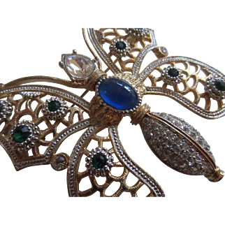 Huge Simulated Sapphire, Emerald and Diamond Butterfly Brooch Pendant