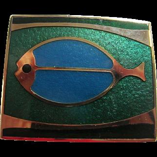 dePassillé-Sylvestre Canadian Modernist Green and Teal Blue Fish Enamel Brooch, c.1970's