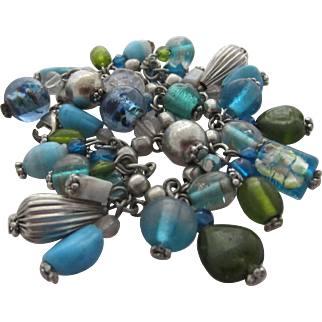 Natural Turquoise, Aqua, Green and Clear Glass Dangles and Silvertone Beads Bracelet