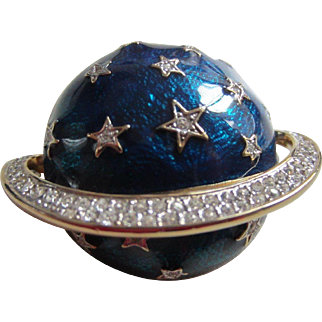 Vintage BUTLER & WILSON Large Cobalt Blue Enamel and Rhinestones Planet Brooch