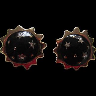 Black Enamel and Rhinestones Sun and Stars Earrings