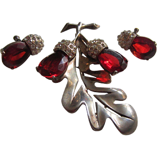 Exquisite Sterling Vermeil Oak Leaf and Ruby Red Rhinestone Acorns Brooch and Matching Earrings, 1940's