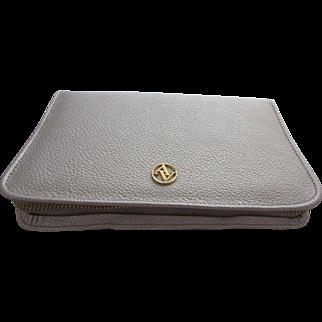Adrienne Vittadini  Silver Faux Morocco Leather Jewellery Travel Case, Unused