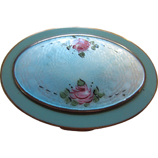 Turquoise Enamel with Pink Roses Oval Powder Compact