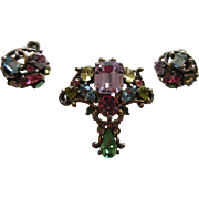 Gorgeous 1953 HOLLYCRAFT Pastel Stones Brooch and Earrings