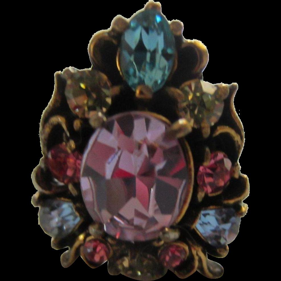 Bijoux American Vintage : Gorgeous hollycraft pastel stones ring  s bijoux
