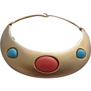 AVERIL Hinged Metal Choker Necklace with Simulated Coral and Turquoise Cabochons, c. 1960's