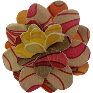 Gucci/Pucci Type Fabric Large Flower Pin, c. 1960's