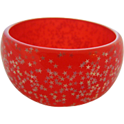 Translucent Orange Confetti Lucite Wide Bangle Bracelet, c. 1980's