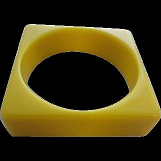 Mellow Yellow Square Lucite Bangle Bracelet, c.1960's